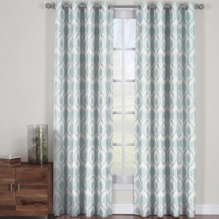 Modern Jacqueline Jacquard Drapes Grommet Top (Set of 2 Panels)