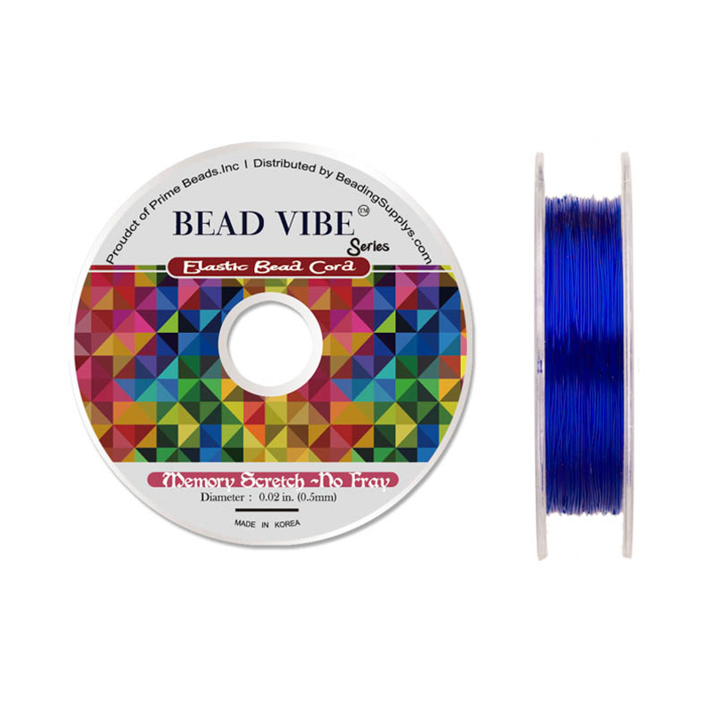 Elastic Bead Cord, Beadvibe Series Memory Stretch Non Fray, Sapphire Blue 0.5mm Diameter 82ft