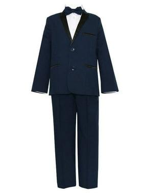 Big Boys Navy Black 4 Pcs Shirt Bow Pants Jacket Slim Fit Tuxedo 8