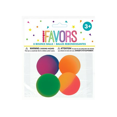 Two Tone Bouncy Ball Party Favors, Neon, Assorted, 8ct - Bouncy Balls Noise