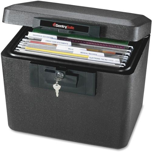 "Sentry Safe 1170 Security Fire File - Key Lock - Fire Resistant - Overall Size 13.6"" x 15.3"" x 12.1"" - Black - Steel"