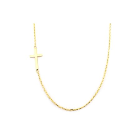 Beauniq 14k yellow gold offset sideways cross pendant necklace 175 beauniq 14k yellow gold offset sideways cross pendant necklace 175 aloadofball Choice Image