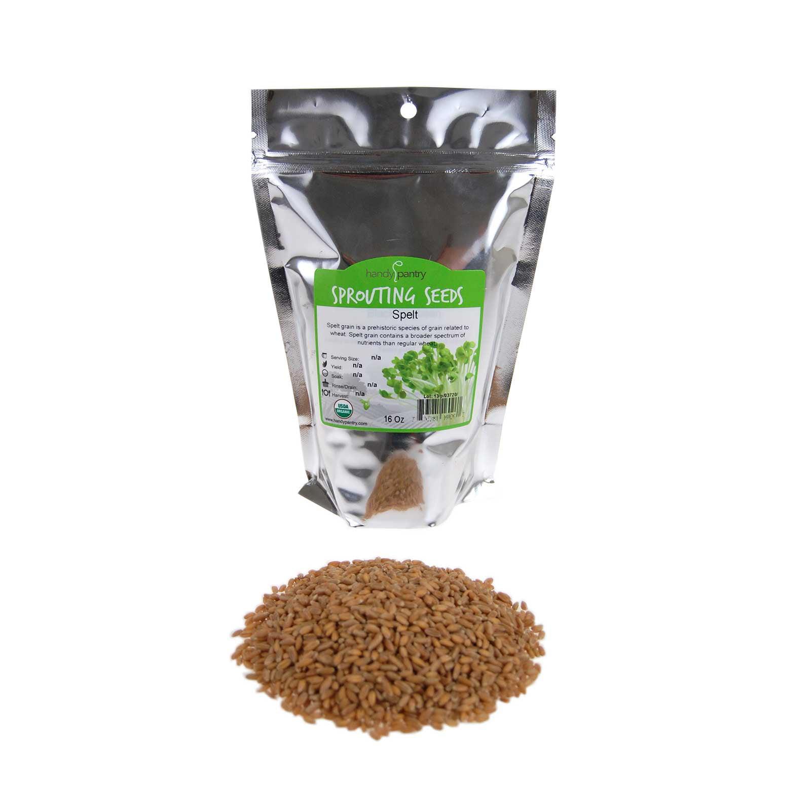 Organic Spelt- 1 Lbs- Grain Seeds: Flour, Bread, Baking, Cooking, Food Storage, Sprouting, Spelt Grass