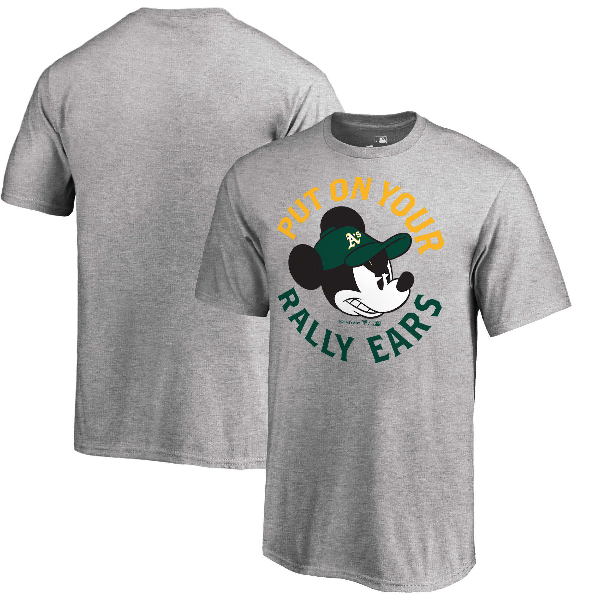 Oakland Athletics Fanatics Branded Youth Disney Rally Ears T-Shirt - Heathered Gray