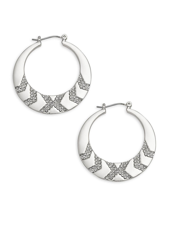 Rhodium Plated & Rhinestone Hoop Earrings
