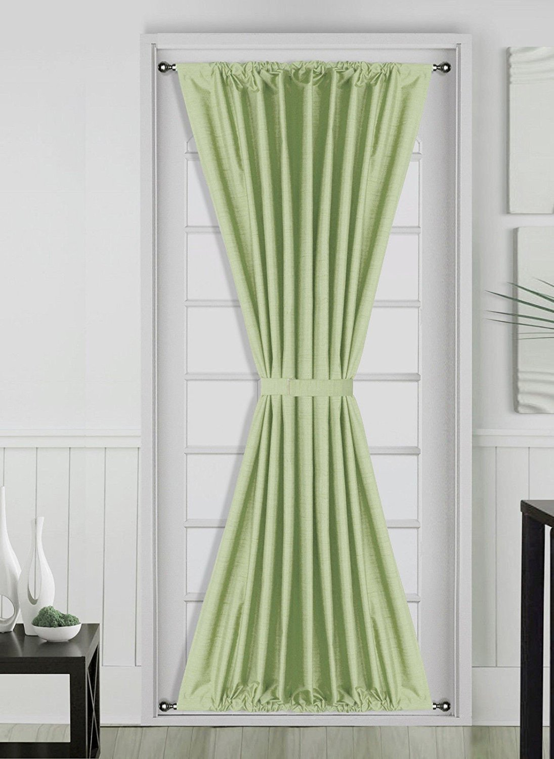 OWESOME French Door Curtain Window Panels w// Rod Pocket for Room Include Tieback