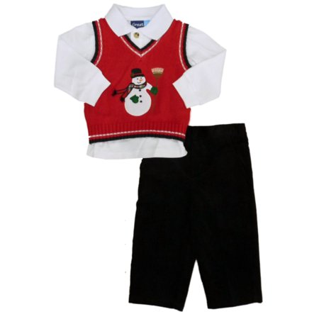 Great Guy Infant Boy 3P Holiday Outfit Snowman Sweater Vest Shirt Cord Pants 12m - Guy Outfits