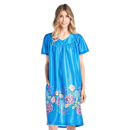 Casual Nights Women's Short Sleeve Muumuu Lounger Dress - Blue - Large