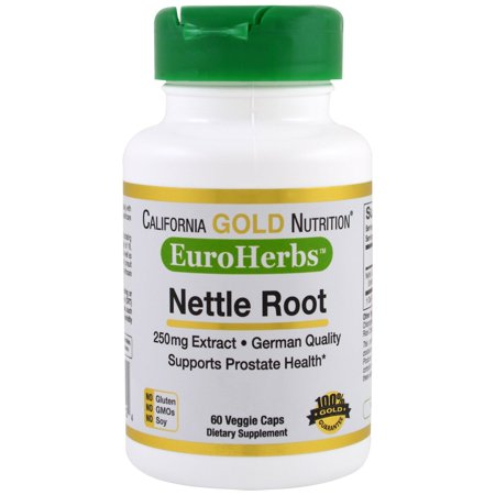 California Gold Nutrition  Nettle Root Extract  EuroHerbs  250 mg  60 Veggie Caps