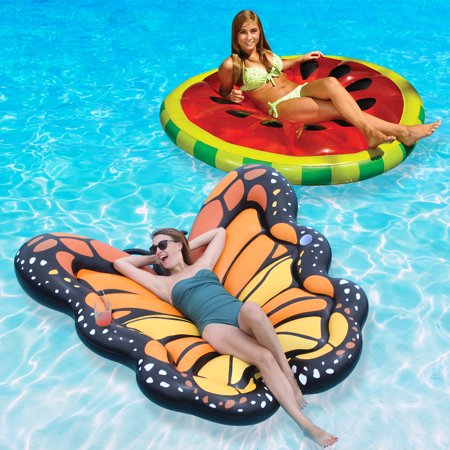 Swimline Watermelon Slice and Monarch Butterfly Extra Large Swimming Pool Floats Combo Pack - Watermelon Pool Float