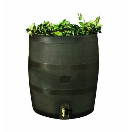 Solid Brass Barrel Twist - Round Rain Barrel 35USG - Brown with Brass Spigot
