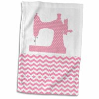 3dRose Image of Pink Dot Sewing Machine On Chevron - Towel, 15 by 22-inch