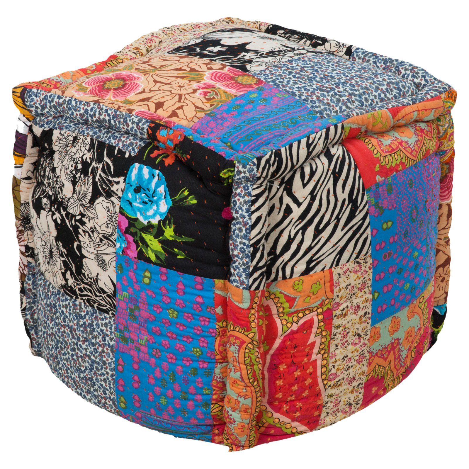Surya 18 in. Patchwork Cube Cotton Pouf by Surya