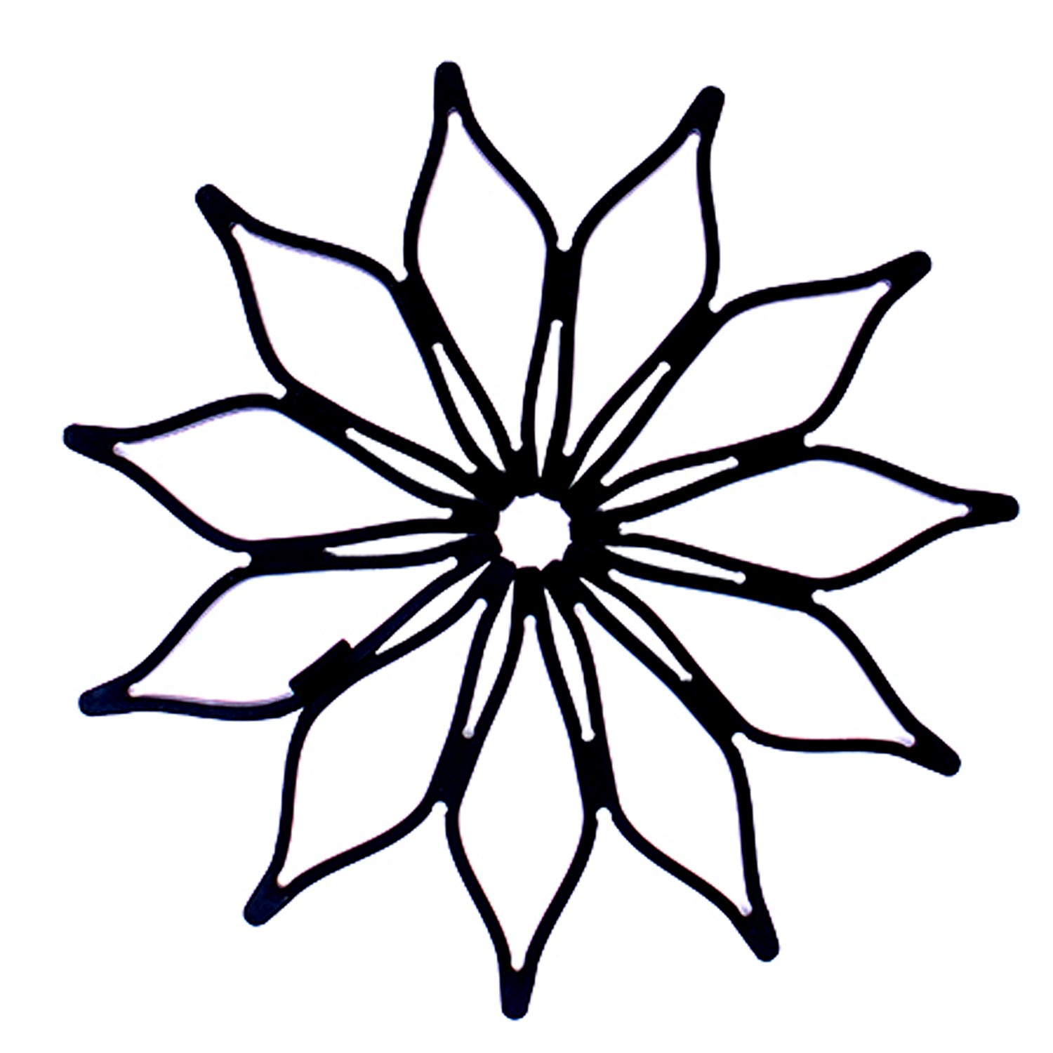 Blossom Mini Multi-Purpose Expanding Flower Silicone Trivet Hot Pad Coaster, Heat-Safe Scratch-Free Non-Stick Non-Skid, Black, 5.5-Inches, Set of 2