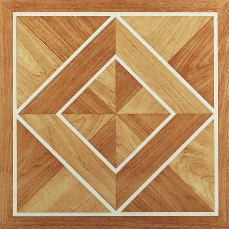 Nexus White Border Classic Inlaid Parquet 12x12 Self Adhesive Vinyl Floor Tile - 20 Tiles/20 sq. ft.