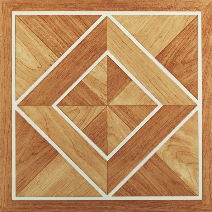 Nexus White Border Classic Inlaid Parquet 12x12 Self Adhesive Vinyl Floor Tile - 20 Tiles/20 sq. ft.