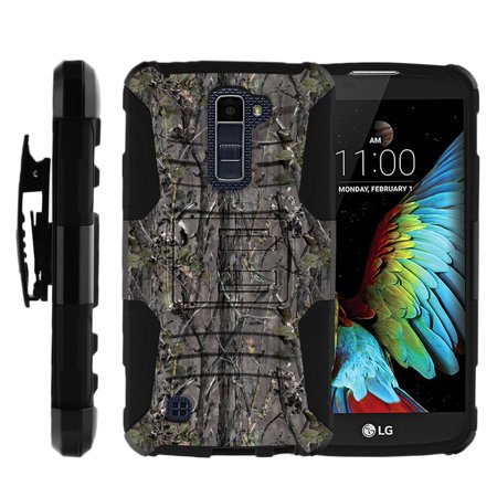 Bongo Belt - LG K10 Case | LG Premier Case [ Clip Armor ] Rugged Impact Layer Case with Built in Kickstand and Bonus Belt Clip - Skinny Tree Branch Camouflage