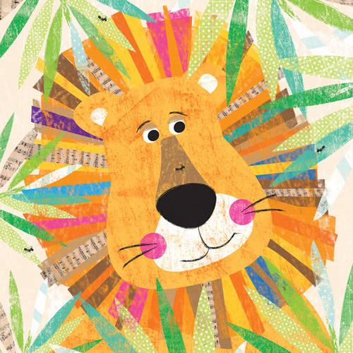 Oopsy Daisy's Peeking Jungle Buddies, Lion Canvas Wall Art, Size 14x14