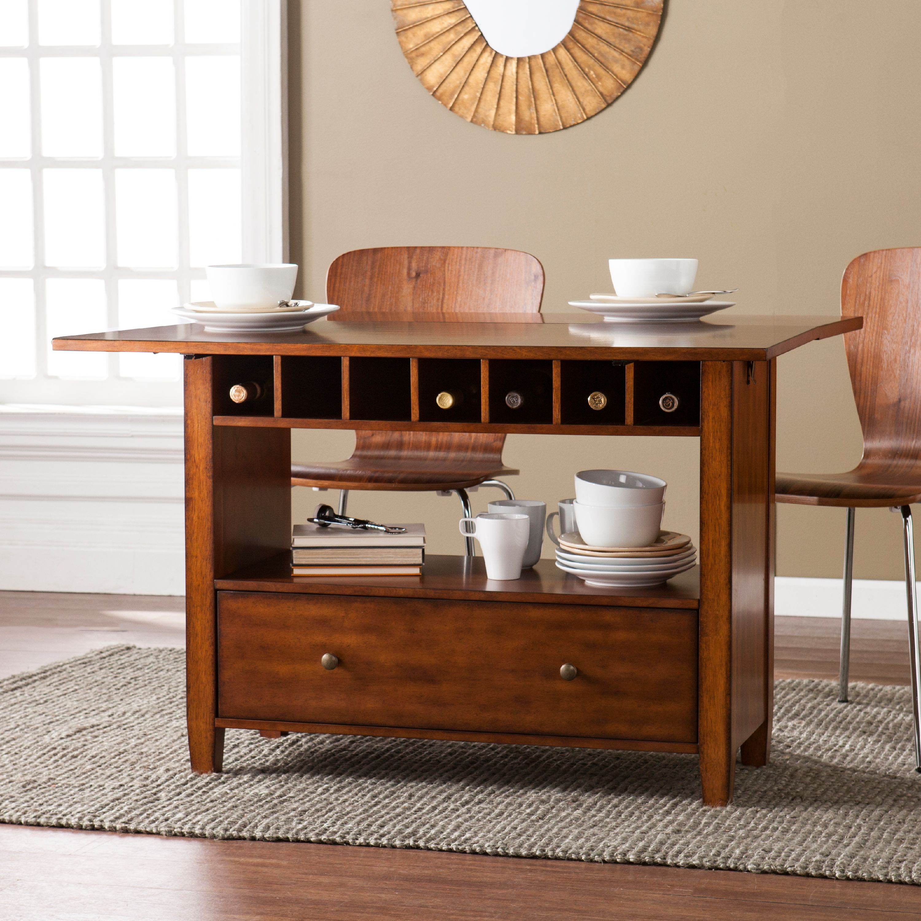 Southern Enterprises Ayrille Convertible Console to Dining Table, Oak Saddle