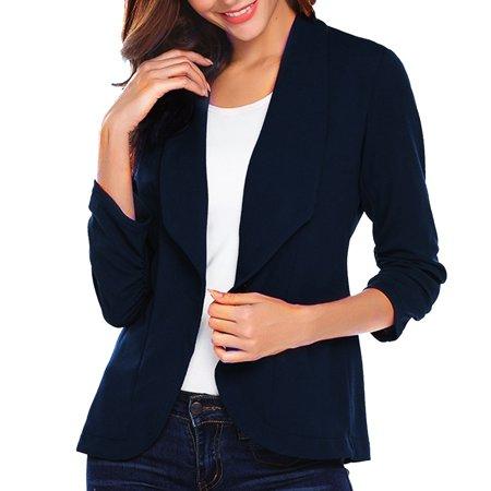 iLH Fashion Women OL Style Three Quarter Sleeve Blazer Elegant Slim Suit Coat Three Quarter Length Jacket