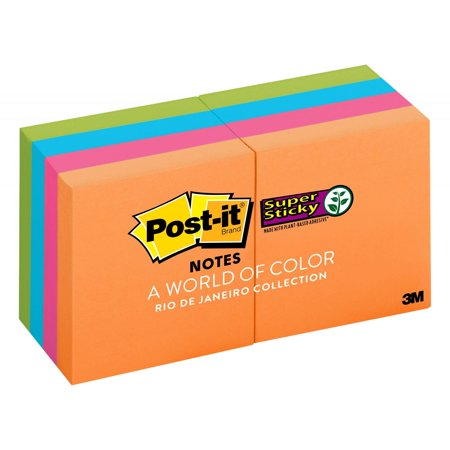 Post-it Super Sticky Notes 8 Pack, 2in. X 2in., Rio de Janeiro Color Collection