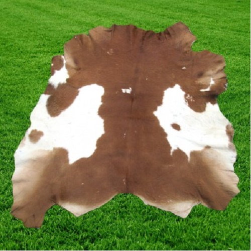 Optimum Leather Cowhide Rug Hair On Brown White 6 SF