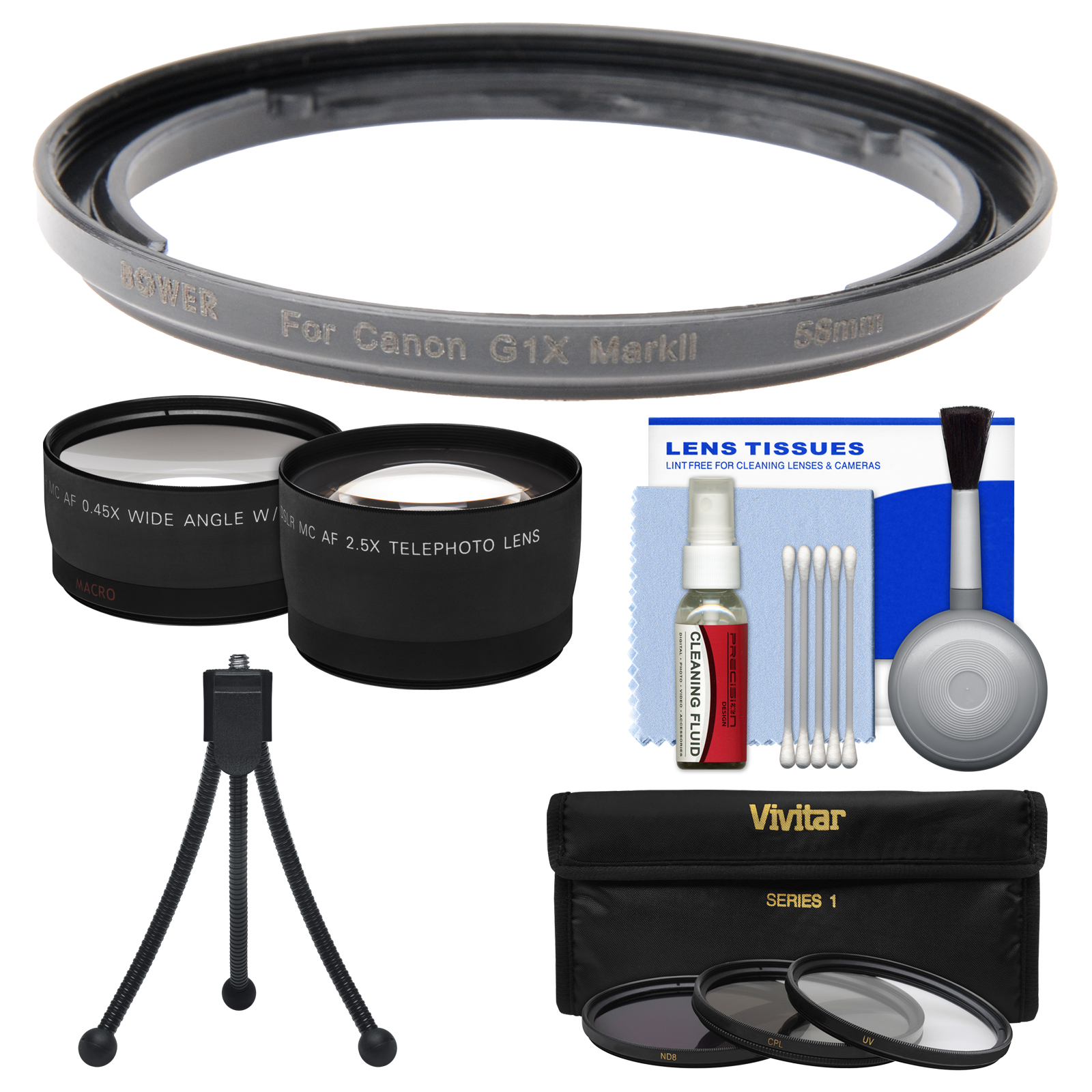 Bower FA-DC58E Conversion Adapter Ring for Canon PowerShot G1 X Mark II Camera (58mm) with Flex Tripod   3 UV/CPL/ND8 Filters   Tele/Wide Lenses Kit