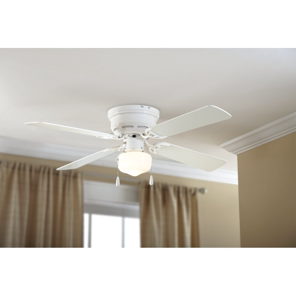 """Mainstays 42"""" Hugger Metal Indoor Ceiling Fan with Single Light, White, 4 Blades, LED Bulb"""
