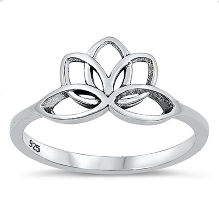 Oxidized Sterling Silver Lotus Flower Ring Size 9