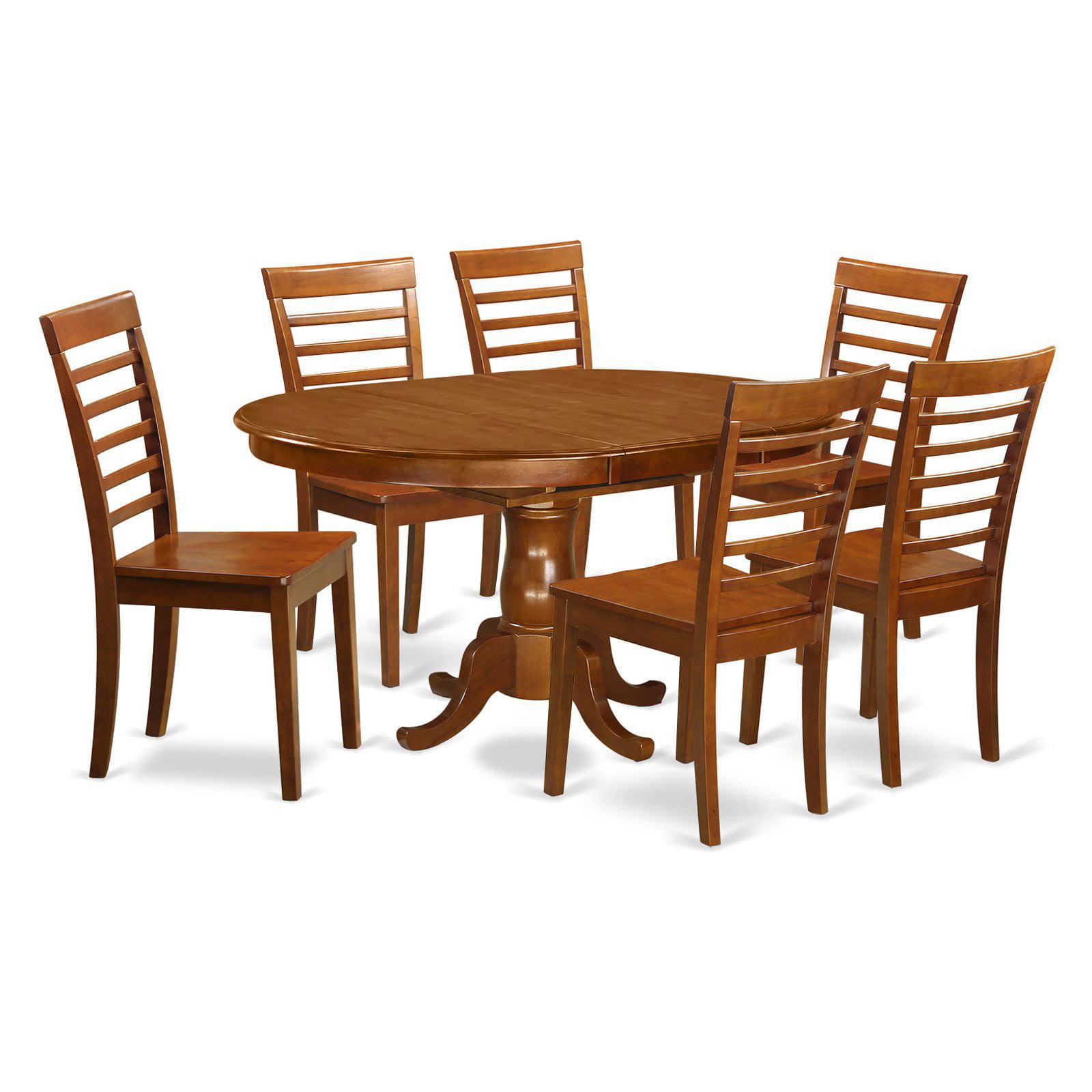 East West Furniture Portland 7 Piece Straight Ladderback Dining Table Set