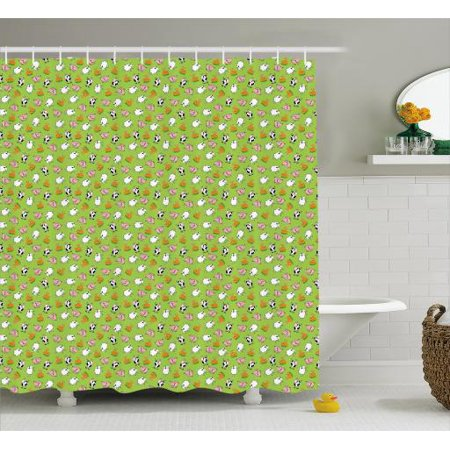 Cattle Shower Curtain Green Background With Cartoon Animals As Sheep Pig Chicken Rooster And