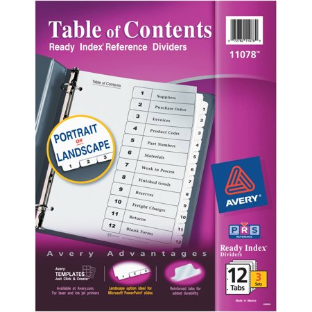 Avery ready index table of contents dividers 11078 12 tab for Avery ready index template 31 tab
