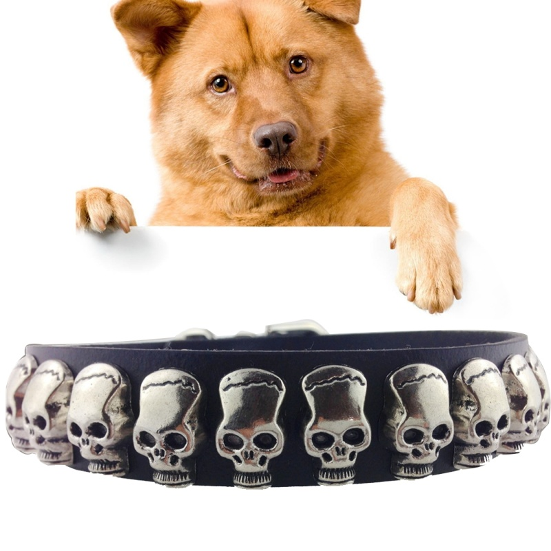 Leather with Skull Designs Pet Dog Collar Pet Products, Size: 1.5 x 37cm - Black