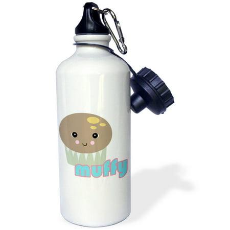 3dRose Cute Kawaii Muffy Muffin, Sports Water Bottle, 21oz
