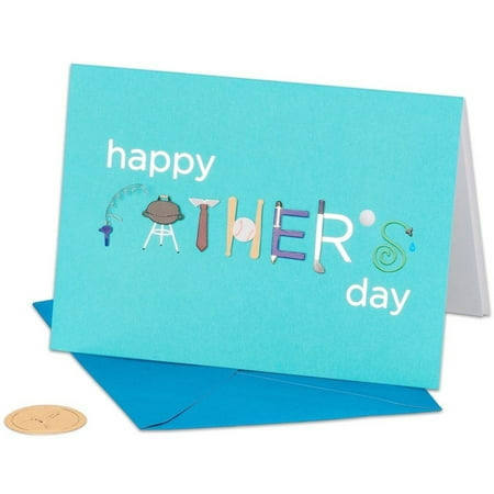 "Papyrus Greeting Card, 5"" x 7"", Fathers Day Icons with Foil"