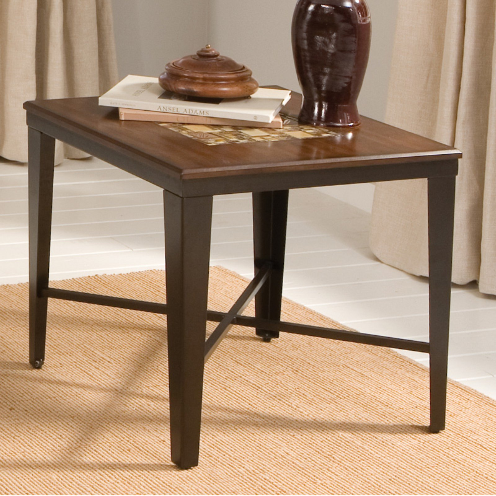Steve Silver Emeril Square Wood And Glass Tile Top End Table