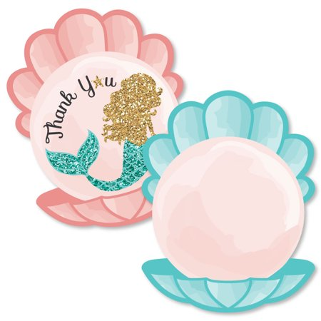Let's Be Mermaids - Shaped Thank You Cards - Baby Shower or Birthday Party Thank You Note Cards with Envelopes - Set of](Birthday Thank You Cards)