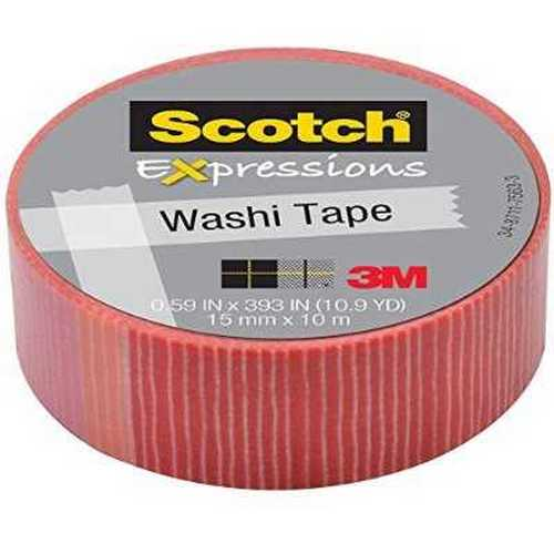 """3M Expressions Washi Tape Pink/Red Stripes .59""""x32.75' AST C314P22"""