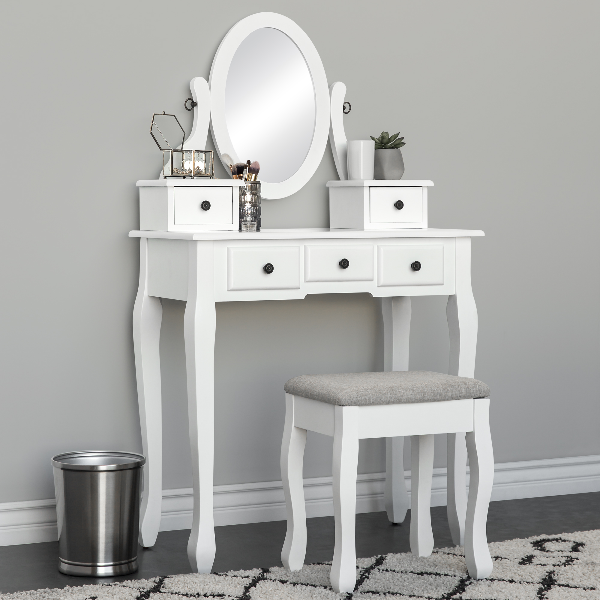 BCP Vanity Table and Stool Set w/ Adjustable Oval Mirror, 5 Drawers, Padded Seat