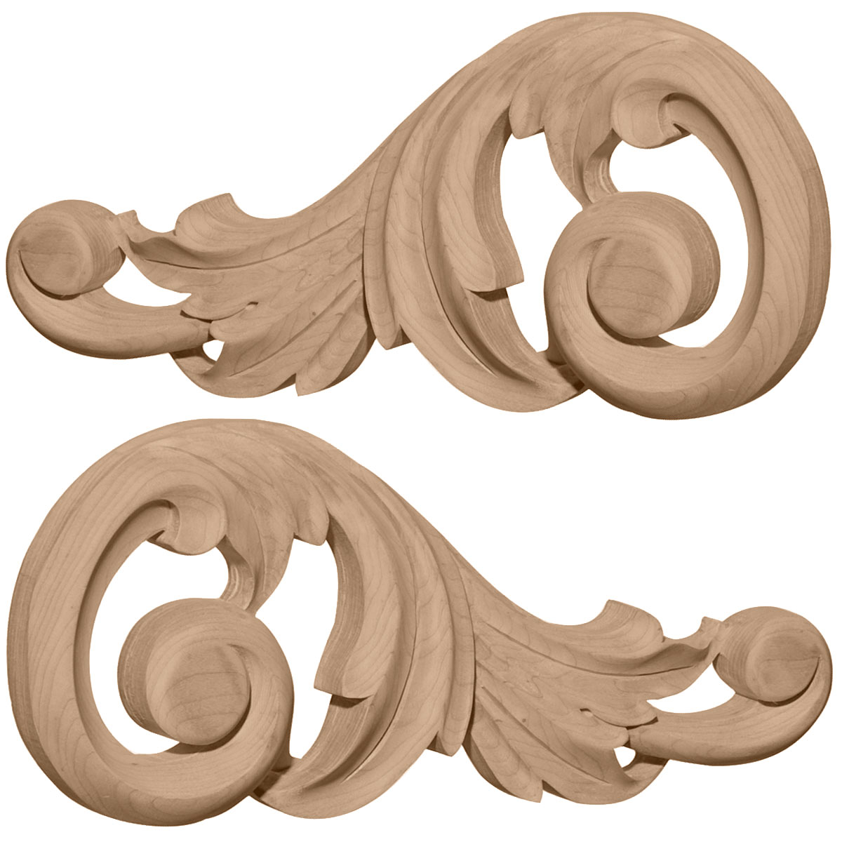 "11 1/4""W x 5 1/8""H x 1""D (Each Side) Large Swaying Scrolls (Pair), Alder"