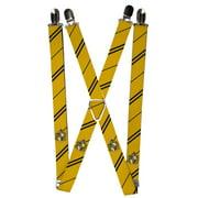 """Gryffindor Crest Stripe Burgundy Gold Suspenders 1.0"""" Wide"""