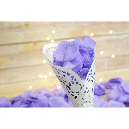 Quasimoon Lavender Silk Rose Petals Confetti for Weddings in Bulk by PaperLanternStore - Lavender Petals
