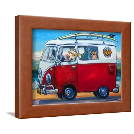 Sunglass Mutt Funny Dog and Animals Driving Surfing Van Artwork Framed Print Wall Art By Connie R. Townsend