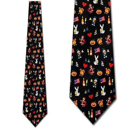 Nylon Print Tie - Holiday Print Allover Necktie Mens Tie by Tieguys
