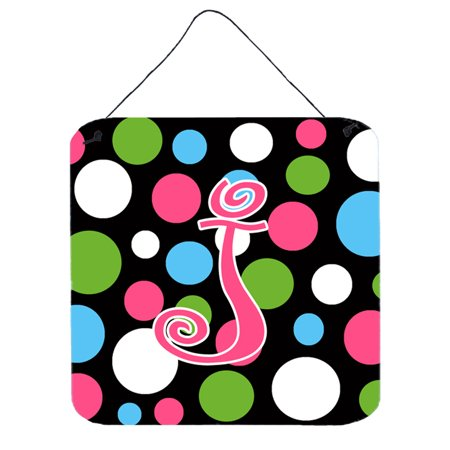 - Letter J Initial Monogram - Polkadots and Pink Wall or Door Hanging Prints