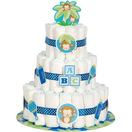 Blue Monkey Baby Shower Diaper Cake Kit, 25pc