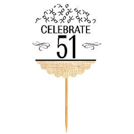 Anniversary Cupcake - 51st Birthday / Anniversary Novelty Burlap Cupcake Decoration Picks -12pack