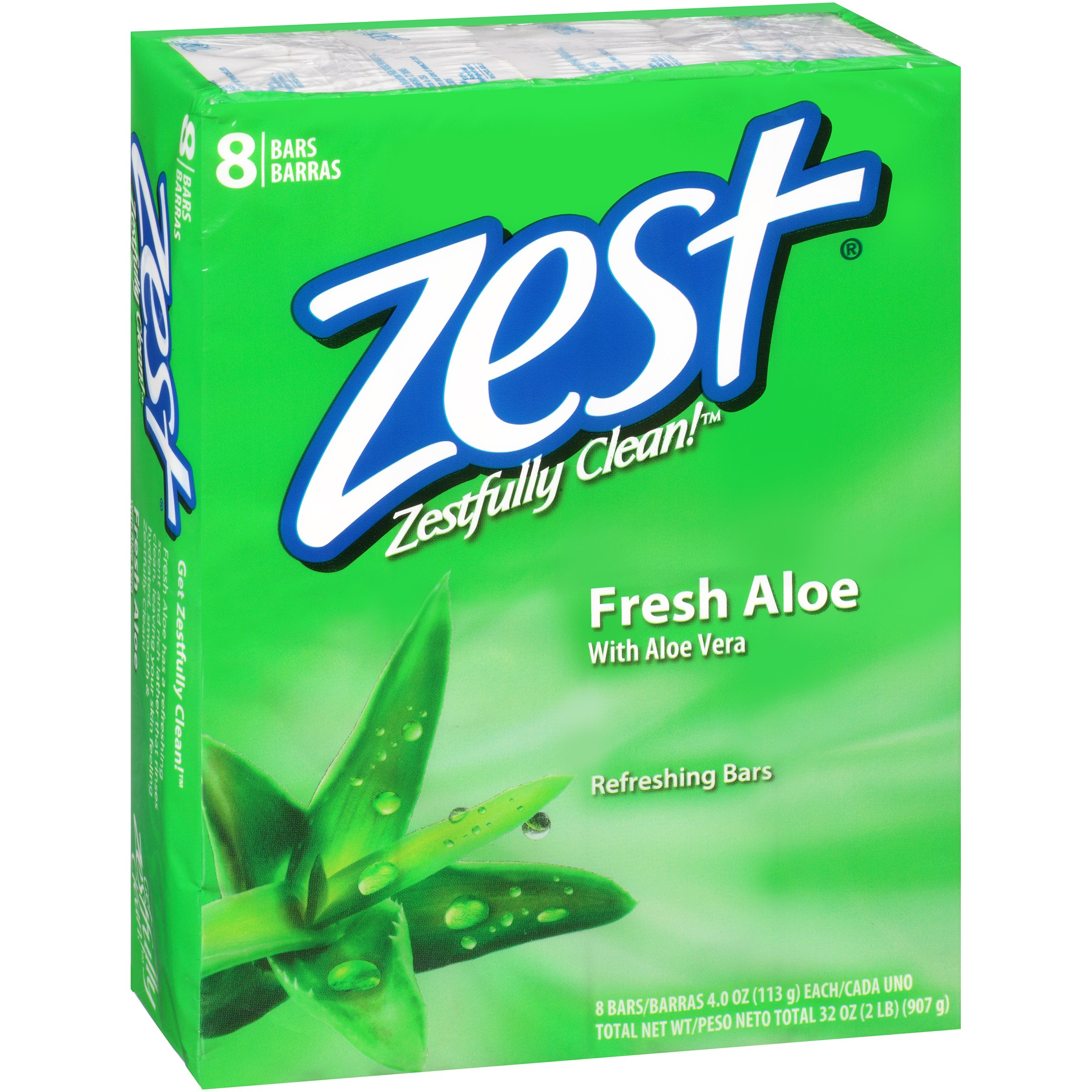 Zest Fresh Aloe Refreshing Bar Soap, 4 oz, 8 count