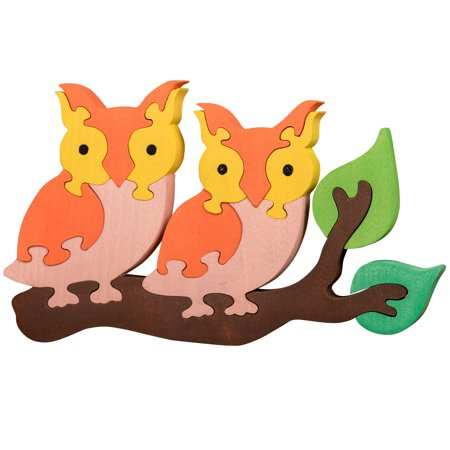 Oxemize Thick Wooden Jigsaw Puzzles for Toddlers Kids 2 3 4 5 Years Old, Developmental Toys for Girls & Boys, Owls, 13