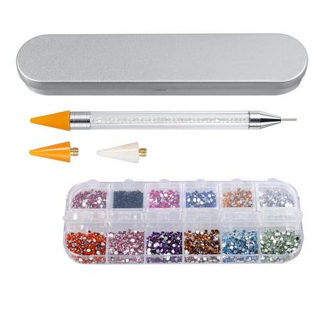 ESYNIC Nail Art Dual Ended Wax Rhinestone Crystal Gem Picker Dotting Pen Tool+ 3D Nail Glitter Shiny Diamond (Halloween Nail Art Easy No Tools)